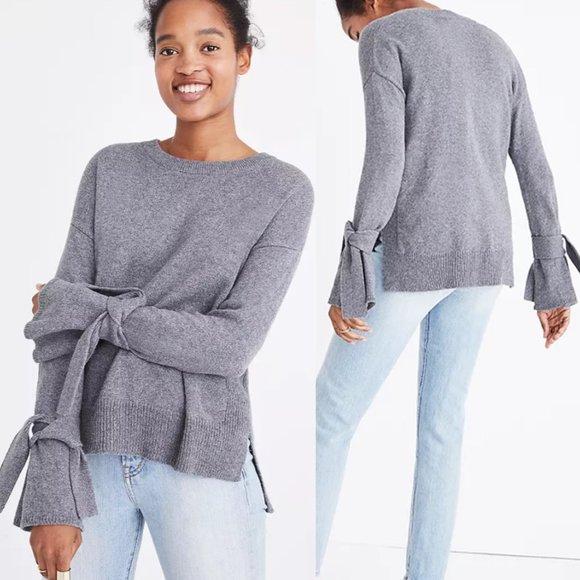 Madewell Grey Tie Cuff Sweater Pullover Crew Neck